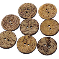 Wholesale Craft Wood Buttons Bulk - Fixed Mixed 23mm Brown Natural Engraved Pattern Wood Buttons 2 Holes In Bulk Buttons For Crafts Decoration, Collections, Sewing I53L