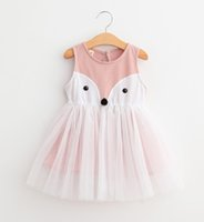 Wholesale tutu patterns for girls - Hot Summer Sleeveless tutu lace dresses for girls Cute fox pattern Pink Blue 2 colors 5sizes 2T-7T