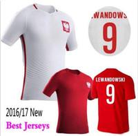 Wholesale European Tops - 2016 Top Polska Soccer Uniforms Jerseys 2017 Poland men European Cup LEWANDOWSKI Football soccer jersey Camisetas De Futbol Shirts