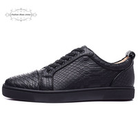 Wholesale gold snake shoes - MFF996A Size 35-47 Men Women Black Snake Print Leather Low Top Lace Up Fashion Red Bottom Sneakers, Unisex Luxury Brand Comfort Casual Shoes