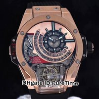 Wholesale automatic watch big case - Best Version MP-09 Big Tourbillon Bi-Axis Special-Shaped 3D Case Rose Gold Gold Dial Automatic Mens Watch Black Rubber Sports Watches A234B7