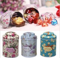 Wholesale Tea Gift Tins Wholesale - 2016 13 Style New Portable Multi Color Knot Suitable Coffee Tea Sugar Storage Tin Box And Line Drawing Style Gift Supplies