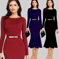 Wholesale New Black Red Navy Wine Work Dresses Women Plus Size Long Sleeve Fishtail Bodycon Dress Knee Length Office Lady Dresses Send Belt