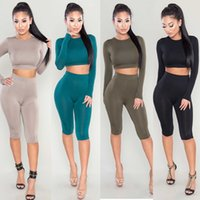 Wholesale Crop Top Jogging Suit - 2016 womens sexy crew neck crop tops and shorts tracksuits bodycon tight fit plain tracksuit all green jogging suits womens sports clothing