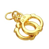 Wholesale Handcuffs For Wholesale - 50pcs a lot Zinc Alloy Floating Silver Plated Sports Handcuffs Sports Pendant Charms For Gift DIY Jewelry Findings & Component