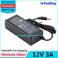 Wholesale Adapter For Lcd 12v 3a - 100pcs With IC Chip AC DC 12V 3A Power Supply Adapter 36W Switch For LED Light LCD Monitor CCTV Free shipping High quality