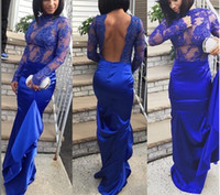 Wholesale Mermaid Body - 2016 Royal Blue Backless Prom Dresses 2K15 Sexy Lace Long Sleeves Formal Evening Gowns With Crew Neck Illusion Body Sweep Train Party Gowns
