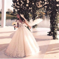 Wholesale Noble Short Sleeves Wedding Gown - Garden Wedding Dresses Fashion V-neck Noble Lace Bridal Gowns Illusion See Through Capped Sleeve and Back Floor Length Ball Gown