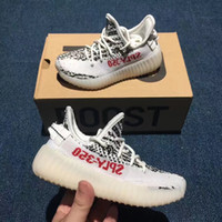 Wholesale Baby Girl Red Shoes - Baby Kids Athletic Shoes Kanye West Season 3 SPLY 350 Boost V2 Running Shoes Boys Girls Sneakers Black Red Zebra Cream White