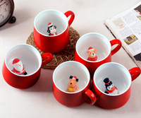 Wholesale chocolate mug resale online - DHL SF_EXPRESS ml D Morning Mugs Christmas COFFEE Mugs Santa Claus snow man ceramic mug cup