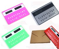Wholesale Wholesale Clock Supplies - Business card type mini eight solar energy calculator ultra-thin color line 2 buttons gift can be printed logo