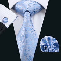 Wholesale Silk Handkerchief Ties - Men Ties Adult Silver Neck Tie Set Cufflinks Pocket Square Wedding Business Red Necktie Handkerchiefs With Sky Blue Floral Pattern N-1186