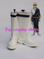Wholesale Gintoki Cosplay Costume - Wholesale-Silver Soul Cosplay Sakata Gintoki Cosplay Boots shoes white Ver wihte black ed New come #341 hand made Custom made freeshipping