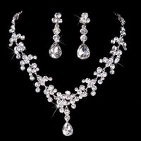 Wholesale Wedding Crystal Jewelery - Luxury Crystal Rhinestone Necklace Jewelery Accessories Bridal Jewelry Crystals Necklace and Earrings Set for Prom Pageant Party Wedding