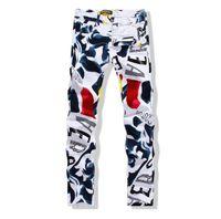 Wholesale paint pops - Wholesale-big size 2016 fashion brand men's casual pants Painted pop luxury men's Pencil Pants gentleman white Skinny trousers size 40