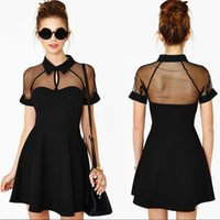 Wholesale Crew Cuts Girls - 2016 Summer Sexy Cut out Sheer Mesh Short Sleeve Skater Mini Dress For Female Girl In Black Plus Size S M L XL free shipping