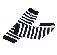 Wholesale Elbow Length Winter Gloves - Amazing Women Ladies Knitted Elbow Length Winter Fingerless Gloves Stripe Mitten Christmas Gifts