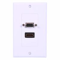 панель vga оптовых-HDMI + VGA женский компонент композитный AV настенная розетка панели видео разъем лицо разъем стены лицевой панели пластины пластины белый ABS