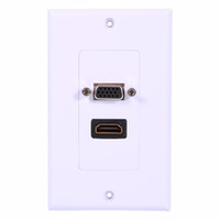 Enchufes De Pared Hdmi Baratos-HDMI + VGA Componente femenino Componente AV Panel de salida de pared Conector de vídeo Conector de cara Placa frontal de pared Placa de panel Blanco ABS