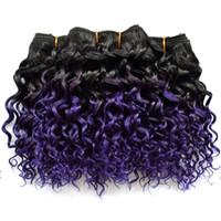 малайзийские волосы боб оптовых-Мода Боб волна фиолетовый Ombre человеческих волос пучки кудрявый вьющиеся бразильские перуанские Малайзийские волосы плетет глубокие вьющиеся Ombre наращивание волос