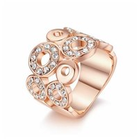 Wholesale Electroplated Rings - Jewelry rings Ladies Vintage 18K roses gold platinum electroplated zircon R002   R003