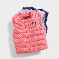 Wholesale Wholesale Vest Jackets - 3 Color Girls Minnie Down Waistcoat 2017 New Baby Cute Winter Children Down Vest Waistcoats Kids Warm Jacket Clothes 2-7 Years Old B001