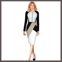 Wholesale Color Block Dresses Office - 2016 Newest Fashion Elegant Irregular Color Block Patchwork Blended cotton Slim Wear to Work Office Stretch Bodycon Pencil Dresses For Women