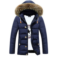Wholesale Big Hats Feathers - Wholesale- Hot Sale Long Winter Men Clothing Outwear Casual Jacket And Cotton Parkas Male Big Fur collar padded Coat