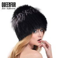 Wholesale Genuine Fox Fur Hat - Wholesale-QUEENFUR Real Fox Fur Hat For Girls 2016 Winter Natural Silver Fox Fur Beanies Super Elasticity Female Genuine Knitted Fur Cap