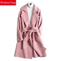 Wisdom Yang Women's Sheep Wool Coats Green Camel Red Blet Slim Warm Winter Элегантные длинношерстные пальто 2017 Casacos Feminino