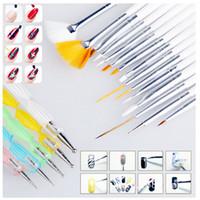 Wholesale Kit Professional Nails Pink - 20pcs set Art Design Painting Tool Pen Polish Brush Set Kit Professional Nail Brushes Styling Nail Art tools