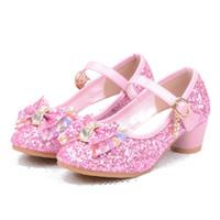 zapatos de lazo rosa para niños al por mayor-Sandalias para niñas Niños Zapatos de cristal Sueños Tacones altos Estudiantes Baile Lentejuelas Zapatos Zapatos Moda de cuero Arco Rosa Princesa