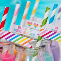 Wholesale Kids Party Paper Bags - Stripe Paper Straws for Kids Birthday Wedding Decorative Party Event Supplies Biodegradable drink Drinking Straws 25pcs lot bag