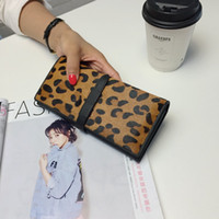 Wholesale Horsehair Wallets - European Ladies Long Wallet Female Leopard Horsehair Pumping Fashion women Leather Wallet Tide Bags