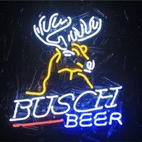 enseignes de bière néon busch achat en gros de-Verre LED DIY Néon Signe Flex Corde Lumière Intérieur / Extérieur Décoration pour BUSCH BIÈRE Tension RVB 110V-240V 17 * 14 pouces