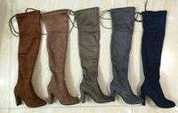 Wholesale Slim Leather Boots - Women Stretch Faux Suede Slim Thigh High Boots Sexy Fashion Over the Knee Boots High Heels Woman Shoes Black Gray Winered