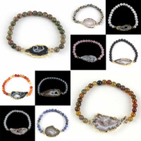 Wholesale Agate Crystal Geode - Wholesale 10Pcs Charm Silver Or Gold Plated Natural Druzy Agate Geode Quartz Crystal Stone With Round Beads Bracelets Jewelry