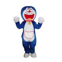 Wholesale Big Cats Mascot - Adult Size Big Cute blue Doraemon Cat High Quality Furry Polar Cartoon Mascot Costume Party Fancy Dress Free Shipping