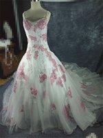 Wholesale Large Photo Images - van-2 Fashionable plus size white pink lace large train real photo 2017 wedding dress custom made bridal dresses Real Photo vestido de noiva