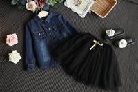 Wholesale Girl Set Ribbon Blue - 2016 Autumn New Girl Sets Denim Long Sleeve Shirts Ribbons Black Gauze Skirt Fashion Outfits Children Clothing 2-6T A5782