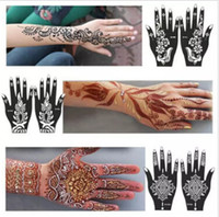 Wholesale Template Tattoo Free - Wholesale-New 1Pcs India Henna Temporary Tattoo Stencils For Hand Leg Arm Feet Body Art Template Body Decal For Wedding NB137 free shipping