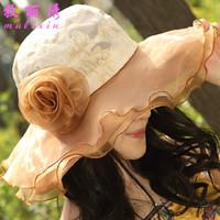 Wholesale Bridal Cowboy Hat - 2016 New Fashion Women Church Wedding Bridal Kentucky Derby Summer Wide Brim Hat Organza Female