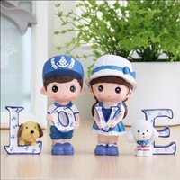 Wholesale China Love Dolls - 4 pieces set New resin craft car ornaments creative home furnishings furnishings love navy doll Valentine 's Day gift