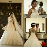 Wholesale african wedding lace - 2017 Vestios De Marriage Gorgeous Wedding Dresses Sheer Crew Neck South African Lace Appliques Wedding Gowns Arabic Dubai with Button Back