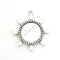 Wholesale Photo Frame Pendant Necklaces - 12pcs Antique Silver Plated Rudder Photo Frame Charms Pendants for Bracelet Jewelry Making DIY Necklace Craft 40x36mm