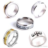 Wholesale Ri Weddings - Men's Silver Plated DragonTungsten Carbide Ring Jewelry Wedding Band Rings Rome password ring Ghost party can turn the ring Titanium ri