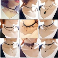 Wholesale Vintage Black Crystal Necklace - Vintage Style Lace Necklaces Chokers Creative Simple Jewelry Crystal Pendants Brand Muti-layer Ethnic Hollow-out Necklaces Chokers for Women