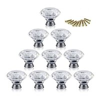 Wholesale Crystal Glass Door Handles - 50pcs Pack 30mm Diamond Crystal Glass Door Drawer Cabinet Furniture Handle Knob Screw Furniture Accessories