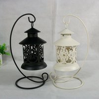 Wholesale Metal Lantern Holders - 48pcs Morocco Vintage Classic Hanging Lantern Hollow Iron Candlestick Metal Candle Holder , Romantic Home Decoration Wedding Candelabra
