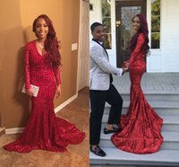 Wholesale Girls Fall Shirts - 2k16 Burgundy Sexy Bling Red Sequines Mermaid Prom Dresses African Black Girl Long Sleeves V Neck Prom Gowns Dubai Fiesta Evening Gowns